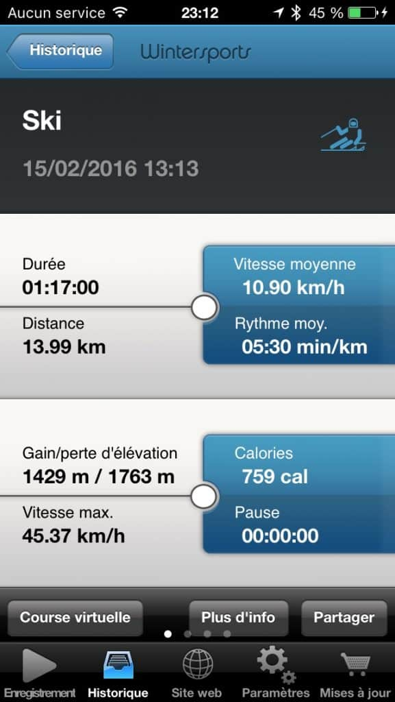runtastic wintersports session